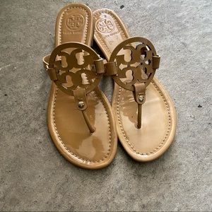 Tory Burch Miller sandals patent leather brown